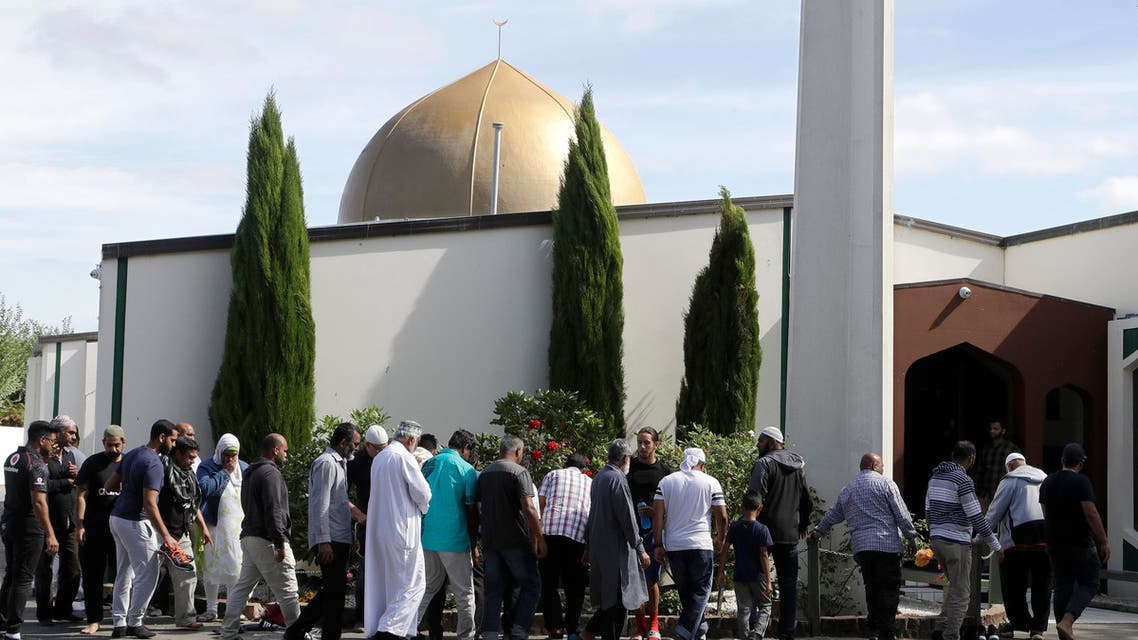 Worshippers prepare to enter the Al Noor mosque following last week's mass shooting in Christchurch, New Zealand, Saturday, March 23, 2019. (AP )