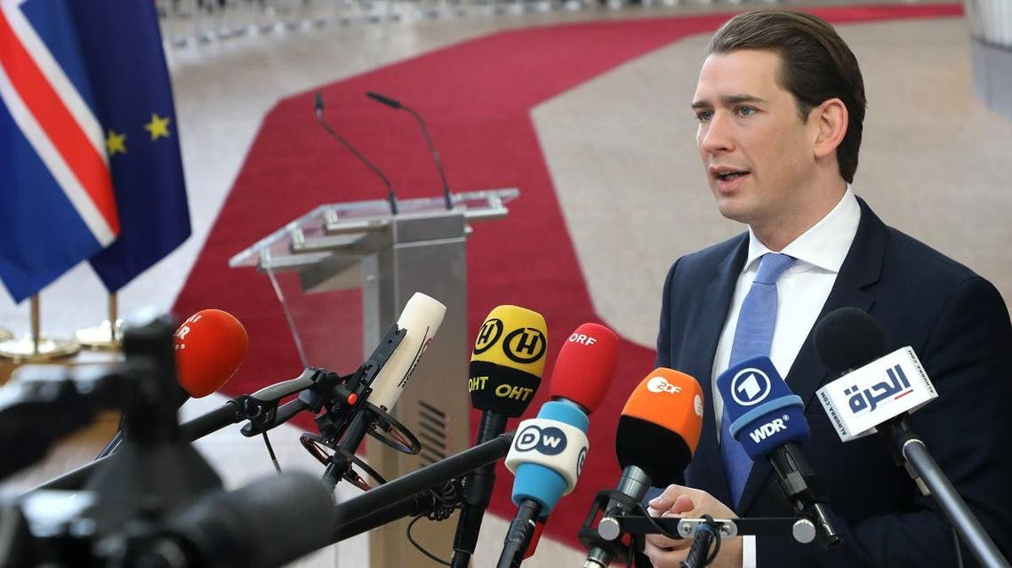 Austria's Chancellor Sebastian Kurz talks to the press on March 22, 2019 in Brussels. (AFP)