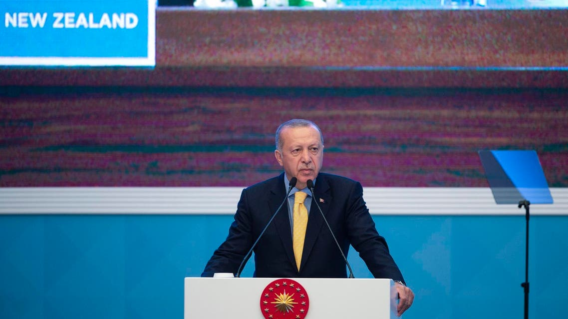 Turkish President Recep Tayyip Erdogan delivers a speech during an emergency meeting of the Organization of Islamic Cooperation in Istanbul, on March 22, 2019. (AFP)