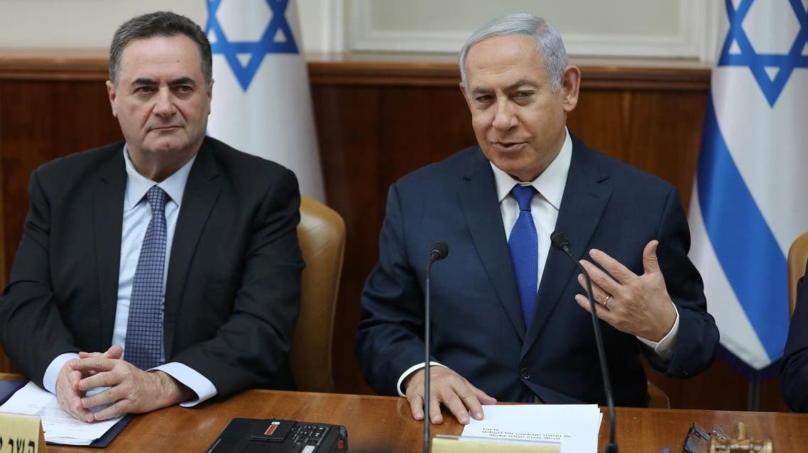 Acting Foreign Minister Israel Katz and Netanyahu. (AFP)