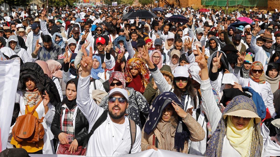 من تظاهرة سابقة لمعلمين في الرباط