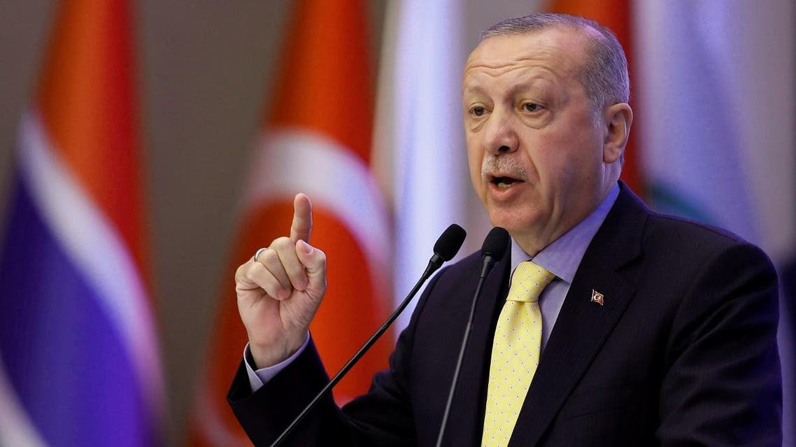 Turkish President Erdogan makes a speech during an emergency meeting of the OIC in Istanbul. (Reuters)
