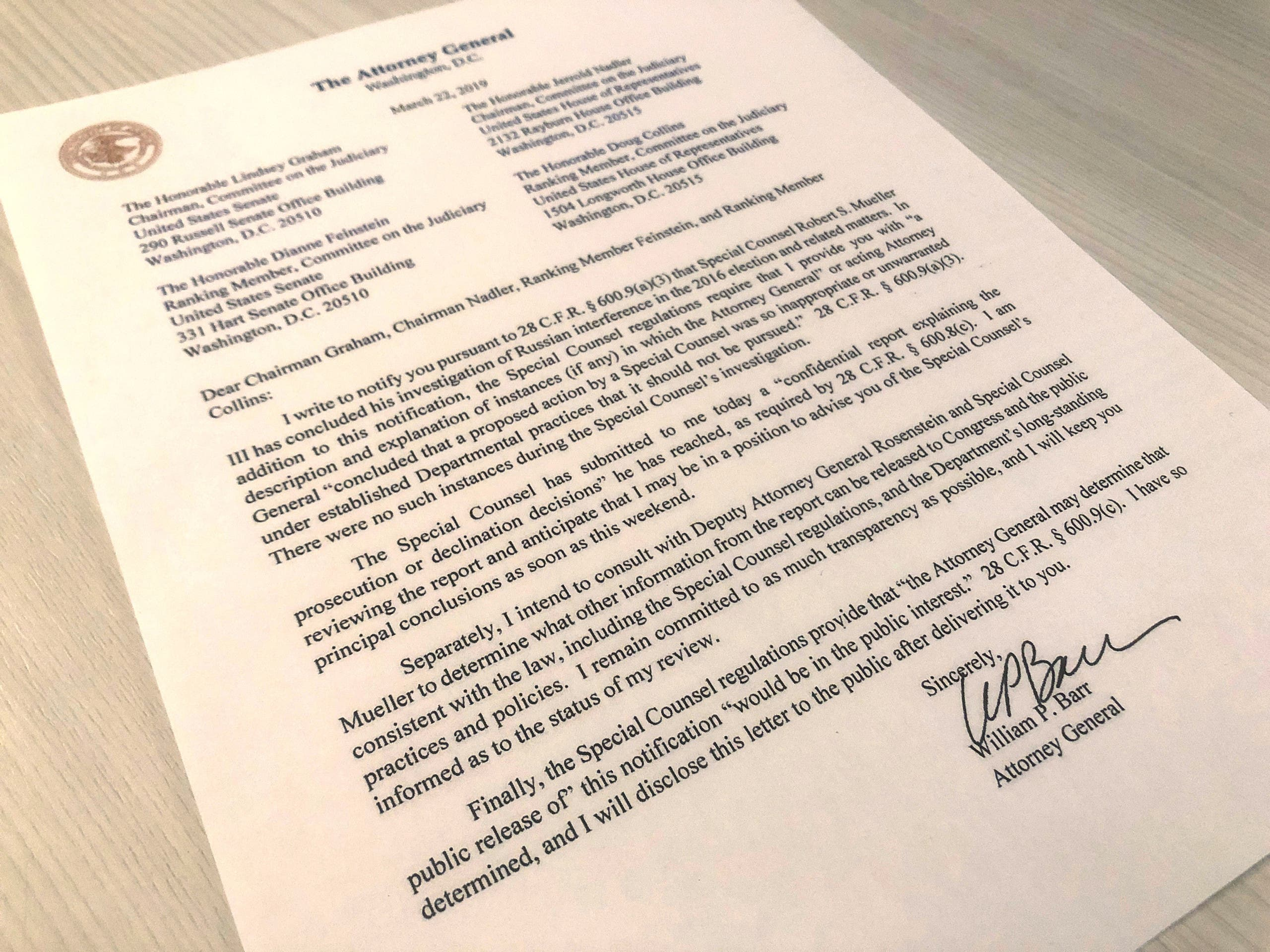 U.S. Attorney General William Barr's letter to U.S. lawmakers stating that the investigation by Special Counsel Robert Mueller has been concluded and that Mueller has submitted his report to the Attorney General is seen in Washington, U.S. March 22, 2019. REUTERS/Jim Bourg