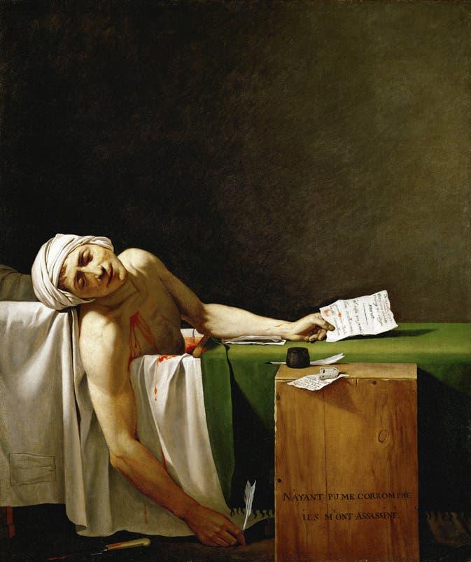 لوحة زيتية تجسّد جان بول مارا ميتا داخل حمّامه عقب نجاح عملية اغتياله