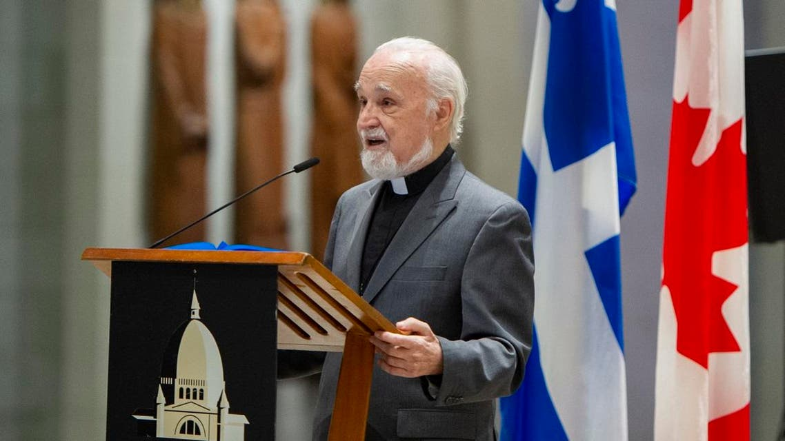 Catholic Priest Claude Grou speaks at a press conference on March 1, 2019, about the work to be done at Saint Joseph's Oratory in Montreal. Grou was stabbed during a livestreamed morning mass on March 22, 2019, at the church. (AFP)