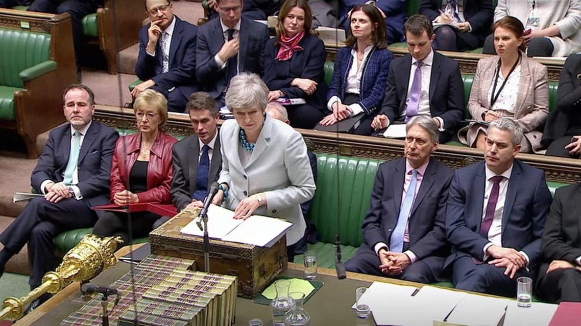 British Prime Minister Theresa May delivers a statement in the Parliament in London. (Reuters)