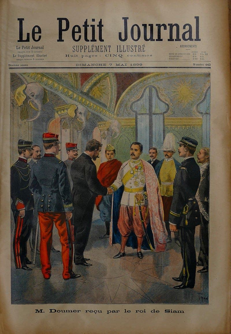 رسم تخيلي لزيارة بول دومير لمملكة سيام سنة 1899