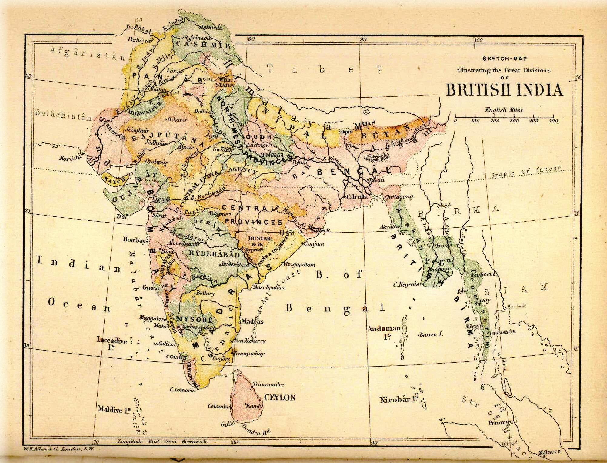 خريطة الهند البريطانية سنة 1880