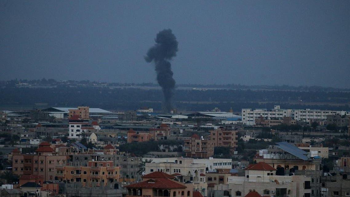 Smoke rises following an Israeli airstrike in the southern Gaza Strip. (Reuters)