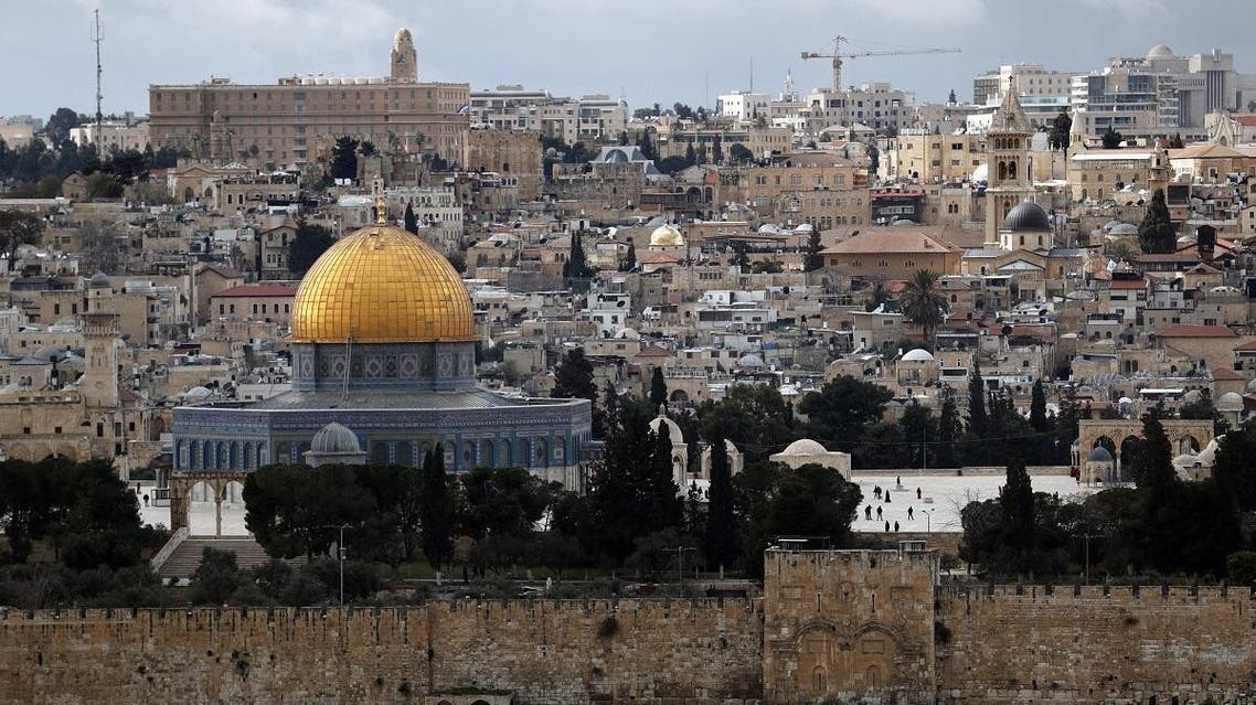 A photograph taken from the Mount of Olives on February 19, 2019, shows a general view of the Old City of Jeruslem. (AFP)