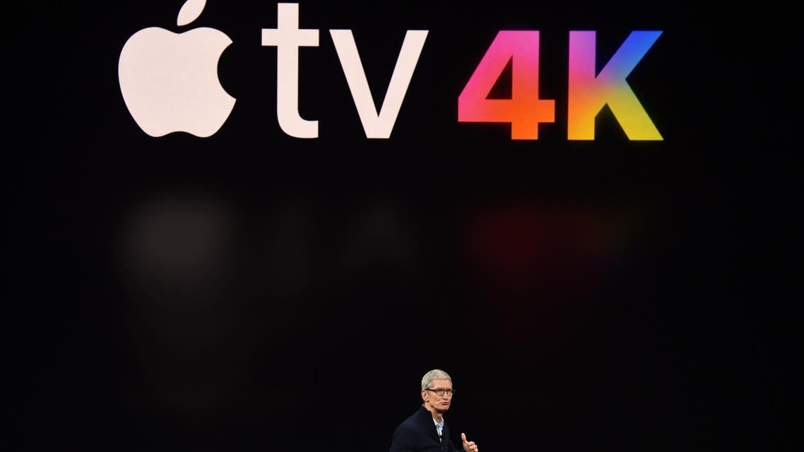 Apple CEO Tim Cook speaks about Apple TV at Apple's new headquarters in Cupertino, California, on September 12, 2017. (AFP)