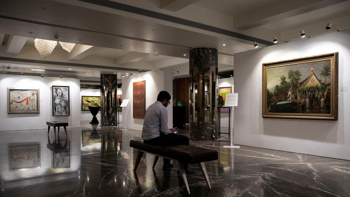 Artworks once part of Nirav Modi's collection on display ahead of their auction at a gallery in Mumbai on March 25, 2019. (Reuters)
