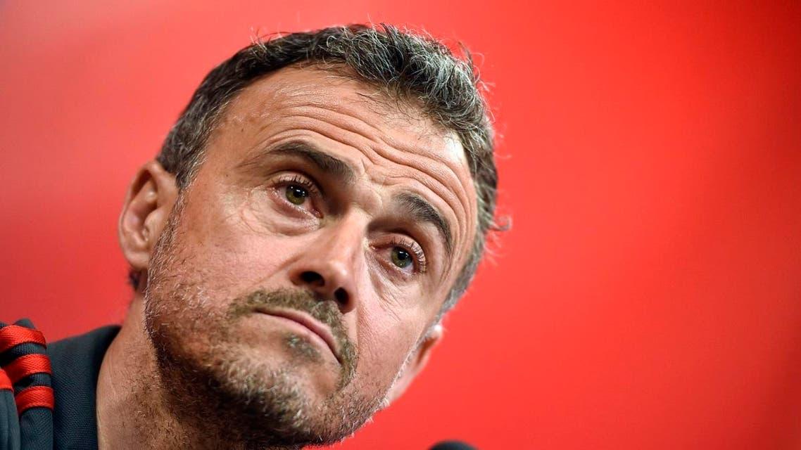 Spain's coach Luis Enrique holds a press conference. (AFP)