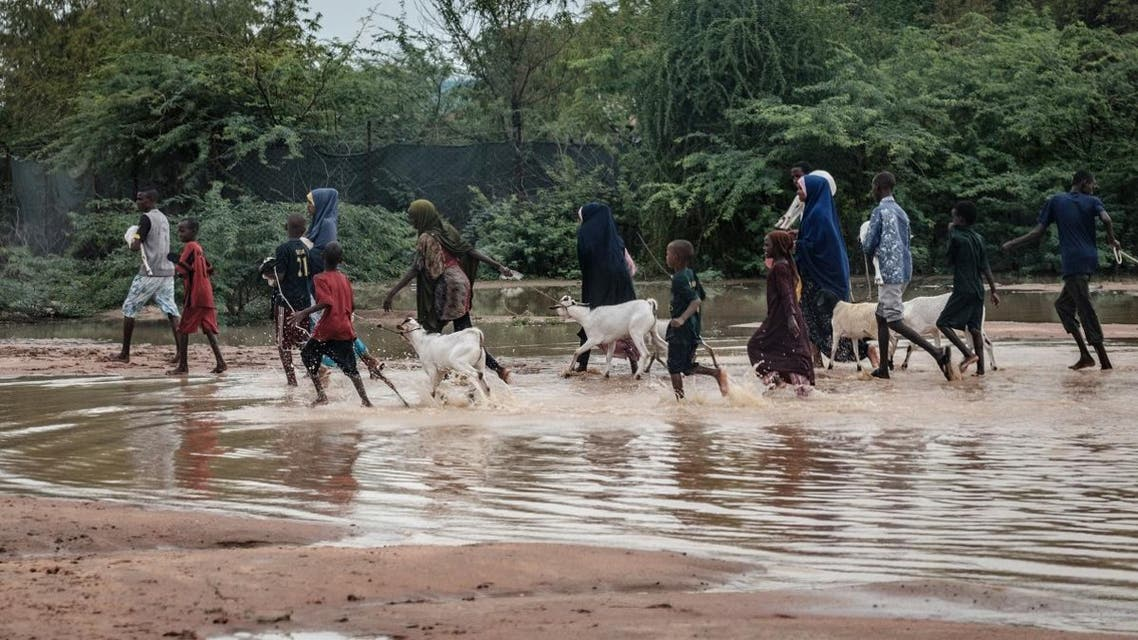 Refugees walk with their goats in floodwaters after a heavy rainy season downpour as they seek to fill sandbags at the Dadaab refugee complex. (AFP)
