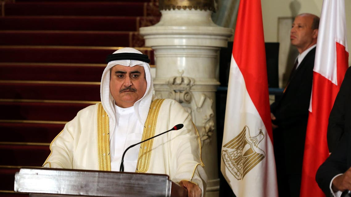 Bahraini Foreign Minister Khalid bin Ahmed al-Khalifa during a press conference in Cairo on July 5, 2017. (File photo: AFP)