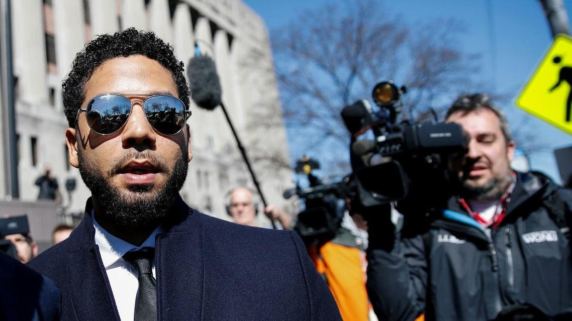 Actor Jussie Smollett leaves court after charges against him were dropped by state prosecutors in Chicago. (Reuters)