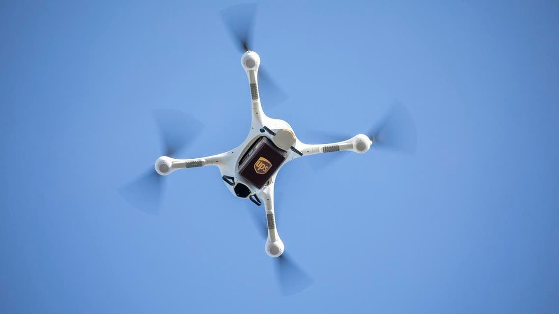 A Matternet Drone loaded with a UPS sample box. American delivery giant UPS on March 26, 2019, launched the first authorized use of unamanned drones to transport packages to their recipient. (AFP)