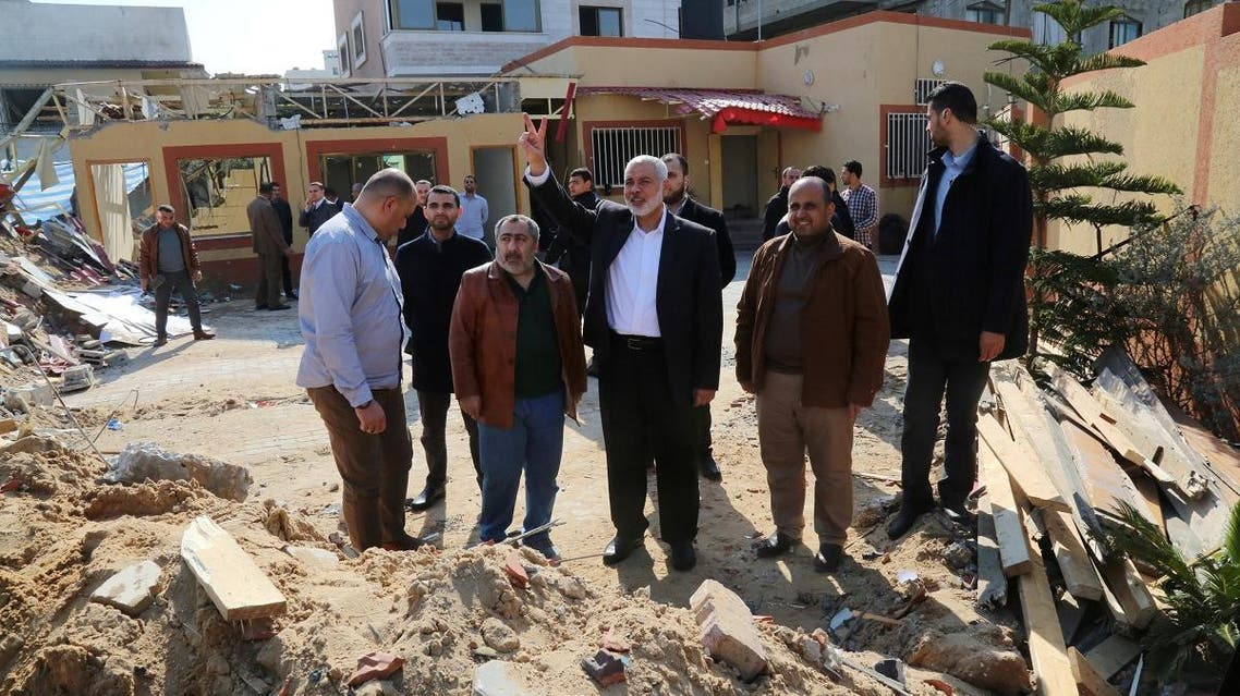 Hamas chief Ismail Haniya visits his office that was targeted in an Israeli air strike, in Gaza City, on March 27, 2019. (Reuters)