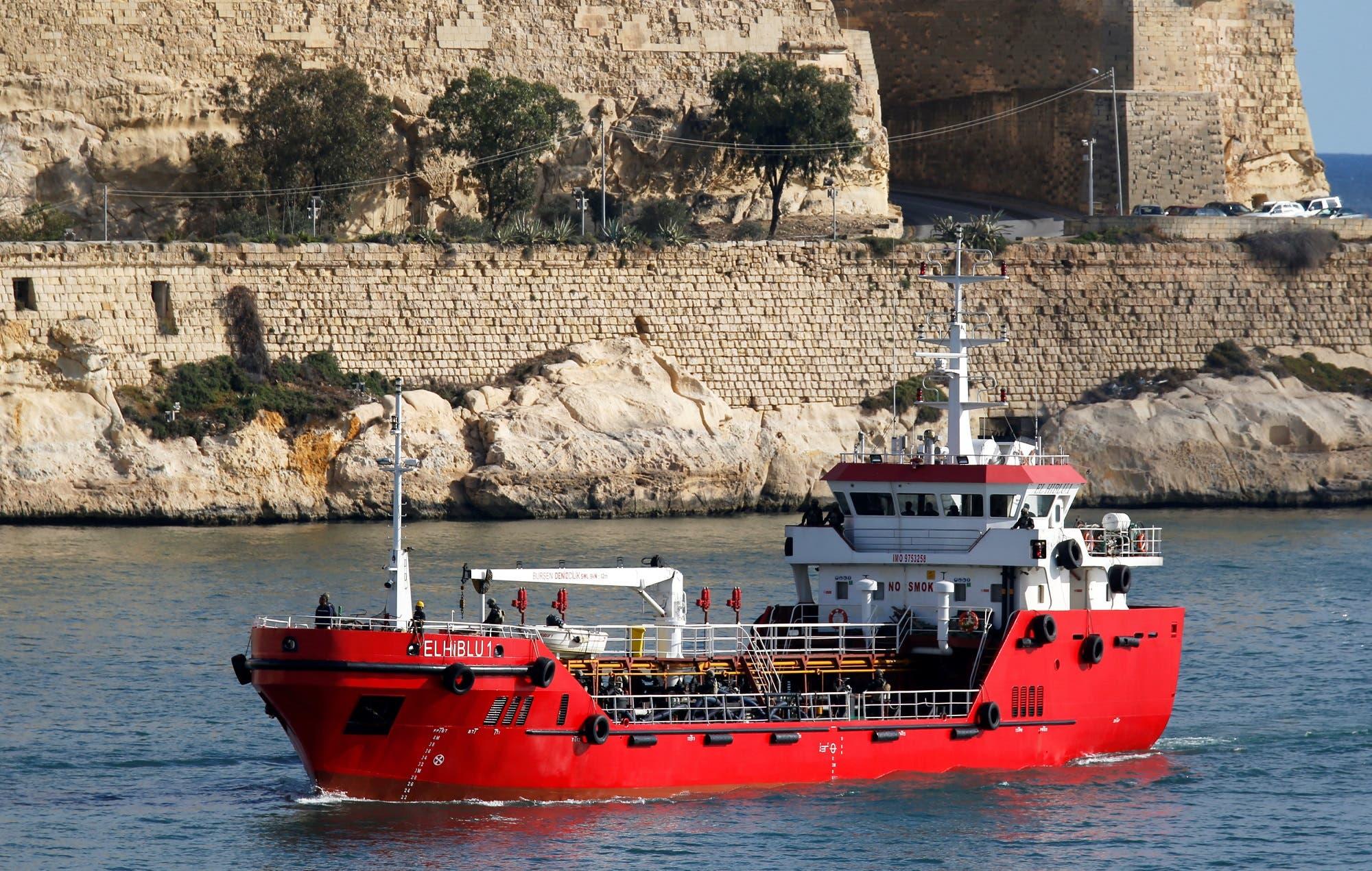 The merchant ship Elhiblu 1 arrives in Valletta's Grand Harbour, Malta on March 28, 2019. (Reuters)