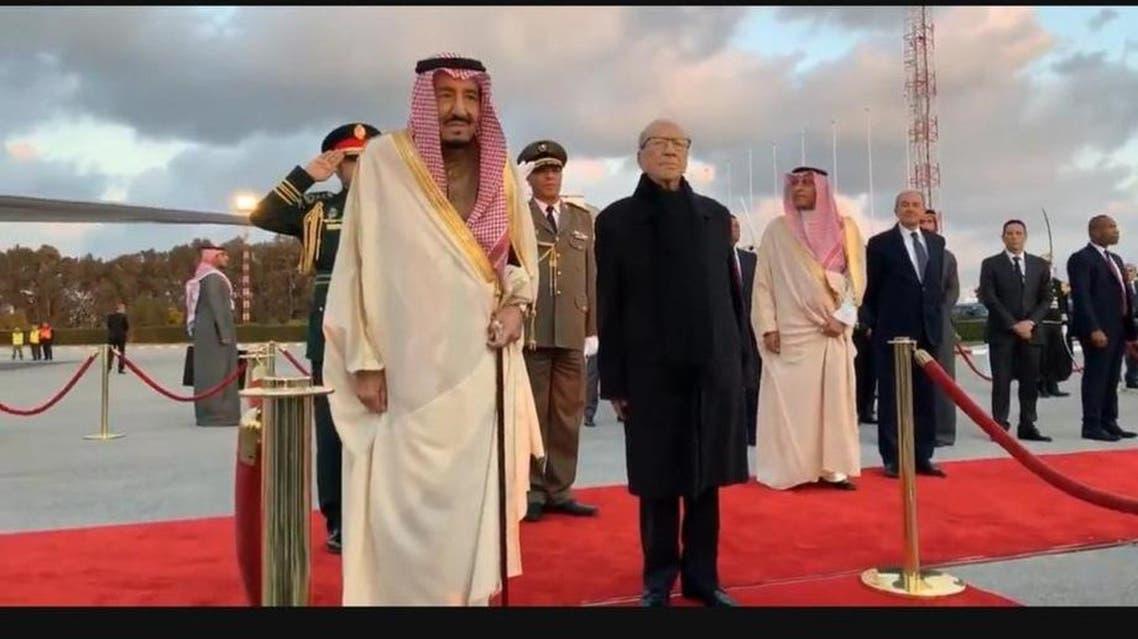 King Salman arrives in Tunis.