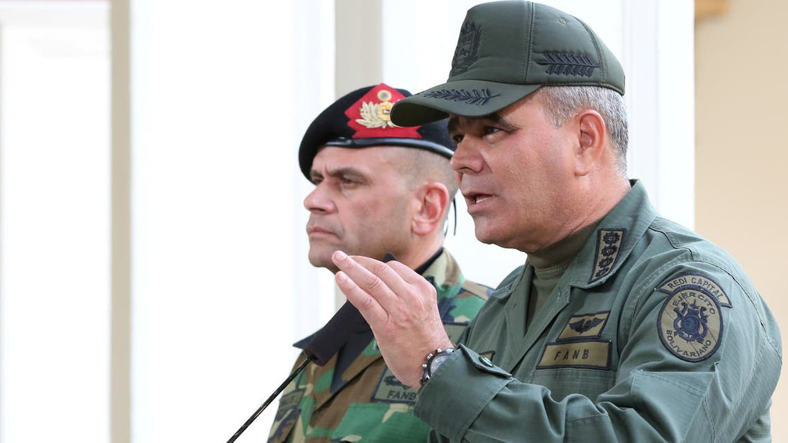 Venezuela's Defense Minister Vladimir Padrino Lopez speaks during a broadcast at the Miraflores Palace in Caracas, Venezuela March 8, 2019. Miraflores Palace/Handout via REUTERS ATTENTION EDITORS - THIS PICTURE WAS PROVIDED BY A THIRD PARTY.