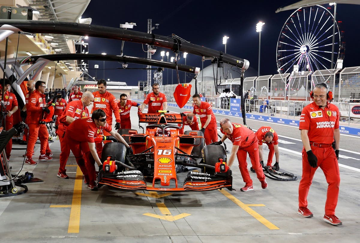 Ferrari's Charles Leclerc in the pits during practise at the. Bahrain International Circuit, Sakhir on March 29, 2019. (Reuters)