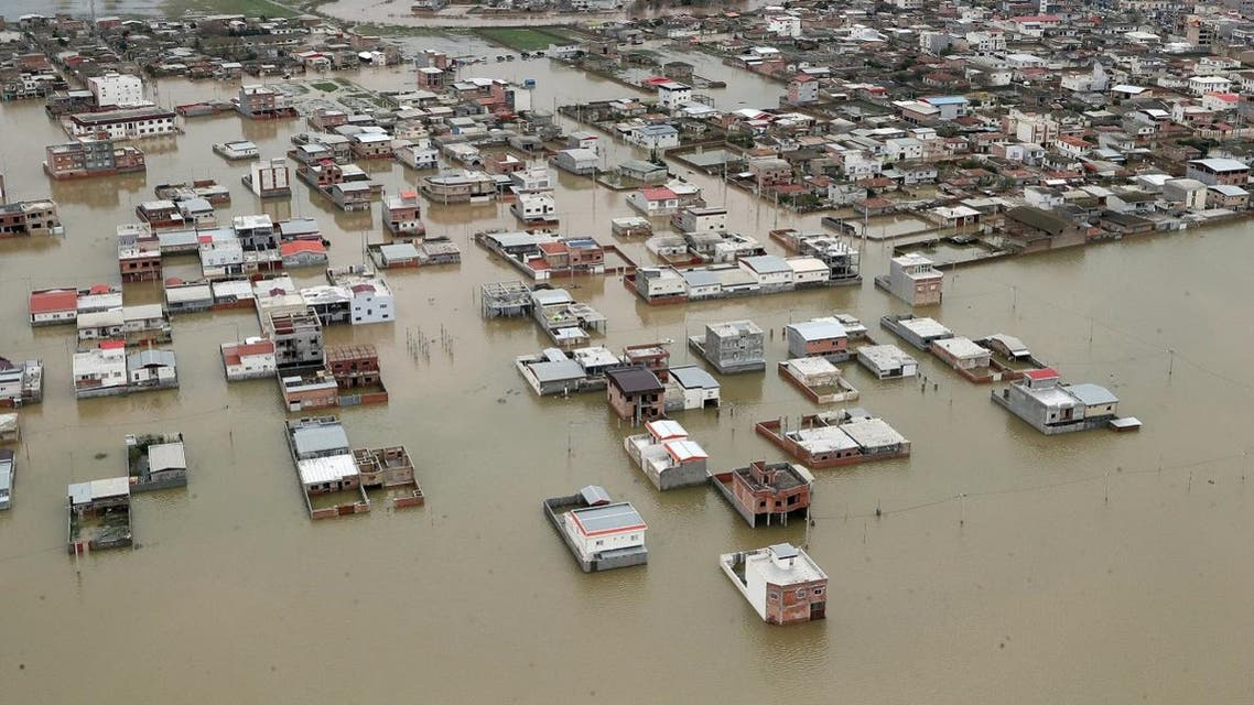 An aerial view of flooding in Golestan province, Iran. (Reuters)