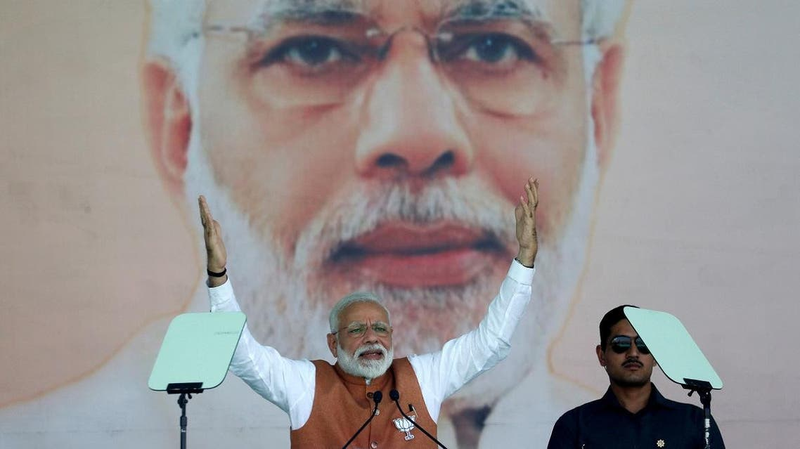 India's Prime Minister Narendra Modi gestures as he addresses an election campaign rally in Meerut in the northern Indian state of Uttar Pradesh on  March 28, 2019.  (Reuters)