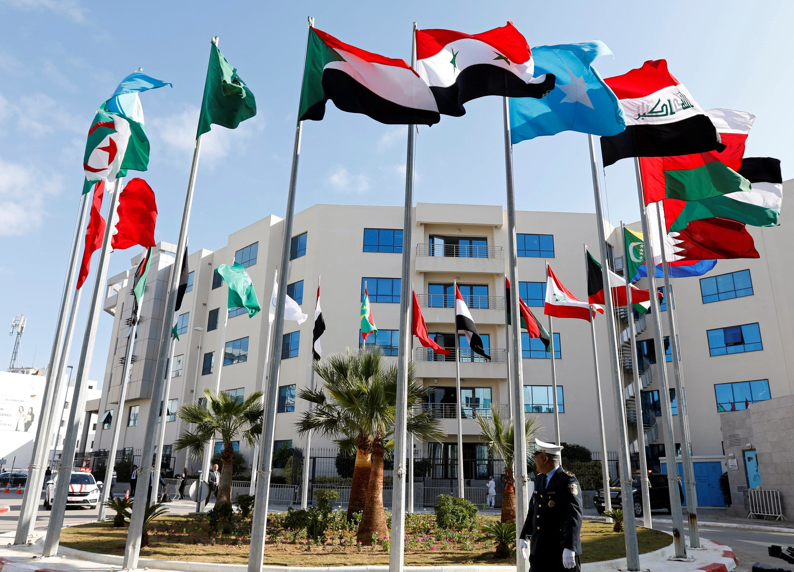 Flags are pictured before a preparatory meeting between Arab foreign ministers ahead of the Arab summit in Tunis, Tunisia March 29, 2019. (File photo: Reuters)