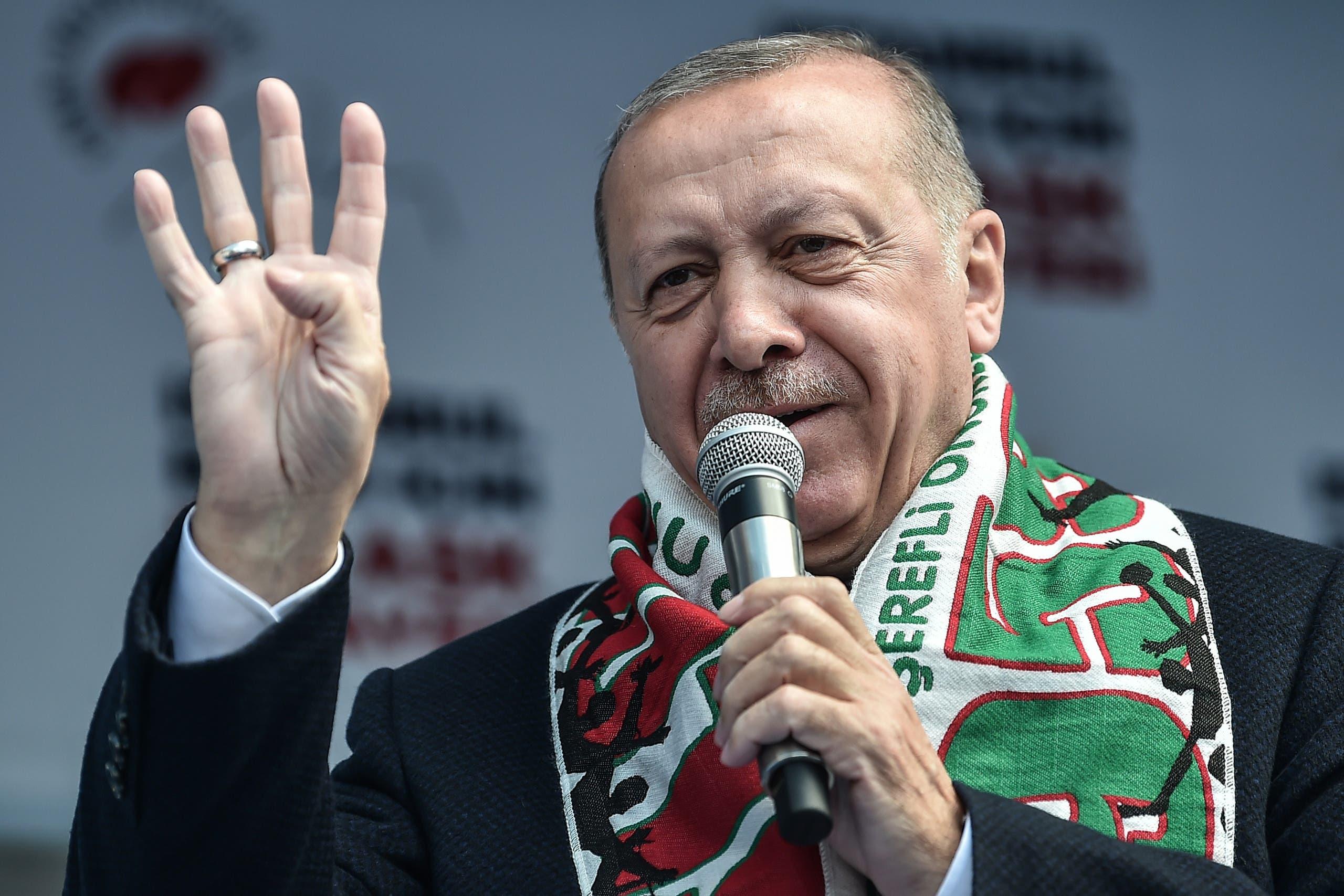 أردوغان خلال أحد التجمعات الانتخابية