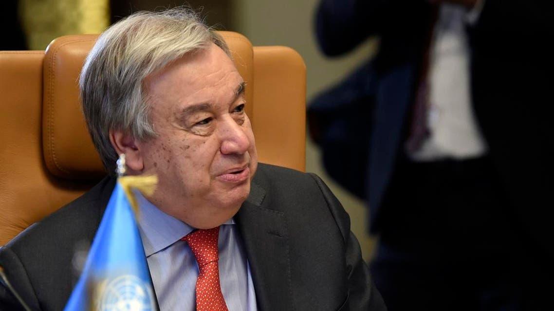 UN Secretary-General Antonio Guterres in Tunisia attending Arab League Summit. (AFP)