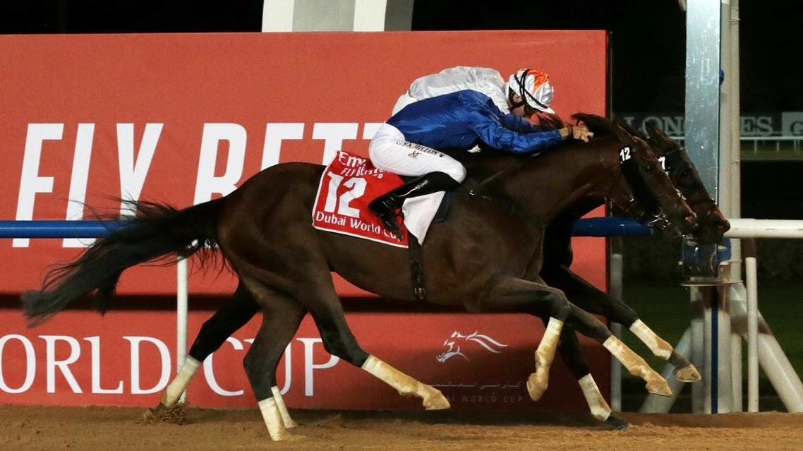 Thunder Snow ridden by Christophe Soumillon wins the Dubai World Cup. (Reuters)