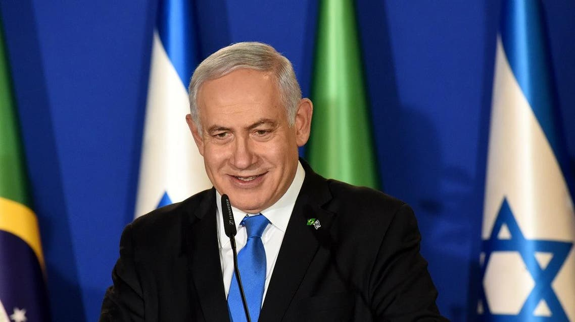 Israeli Prime Minister Benjamin Netanyahu speaks during a joint press conference with the Brazilian president at his residence in Jerusalem on March 31, 2019. Brazilian President Jair Bolsonaro arrived in Israel today just ahead of the country's polls in which his ally Prime Minister Benjamin Netanyahu faces a tough re-election fight.