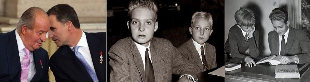 الشقيقان المولودان في روما، خوان كارلوس وألفونسو، وصورة لخوان كارلوس مع ابنه الملك فيليبي