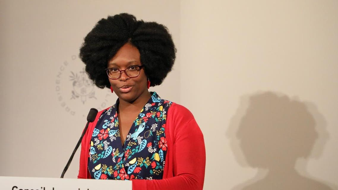 Government's spokesperson Sibeth NDiaye gives a press conference following a cabinet meeting, on April 01, 2019 at the Elysee presidential palace in Paris.  LUDOVIC MARIN / AFP