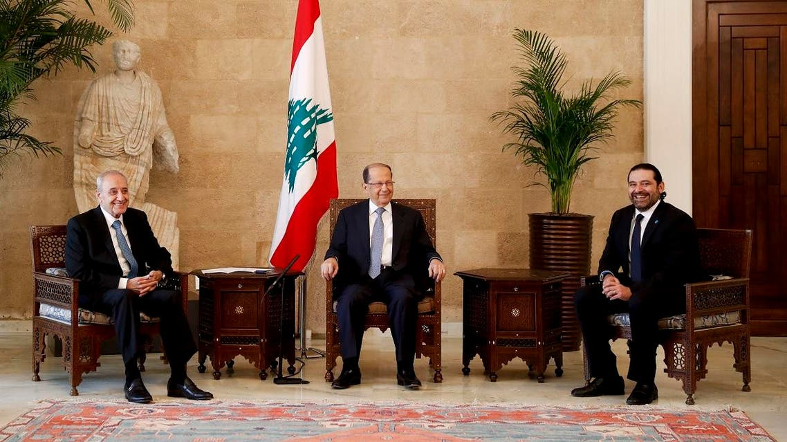 File photo of Lebanon's President Michel Aoun (C) meets with PM Saad Hariri (R) and Parliament Speaker Nabih Berri. (AP)