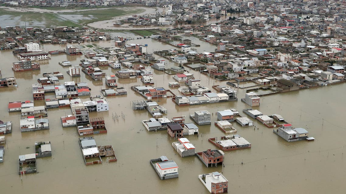 An aerial view of flooding in Golestan province, Iran March 27, 2019. Official Iranian President website/Handout via REUTERS ATTENTION EDITORS - THIS IMAGE WAS PROVIDED BY A THIRD PARTY. NO RESALES. NO ARCHIVES