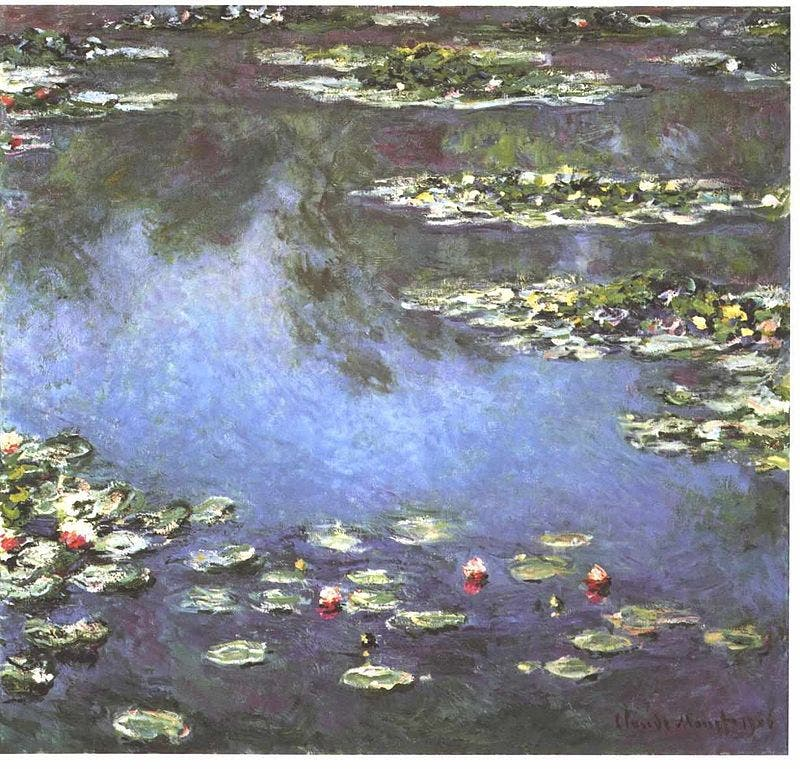 لوحة بعنوان زنابق الماء لكلود مونيه في حدود العالم 1906
