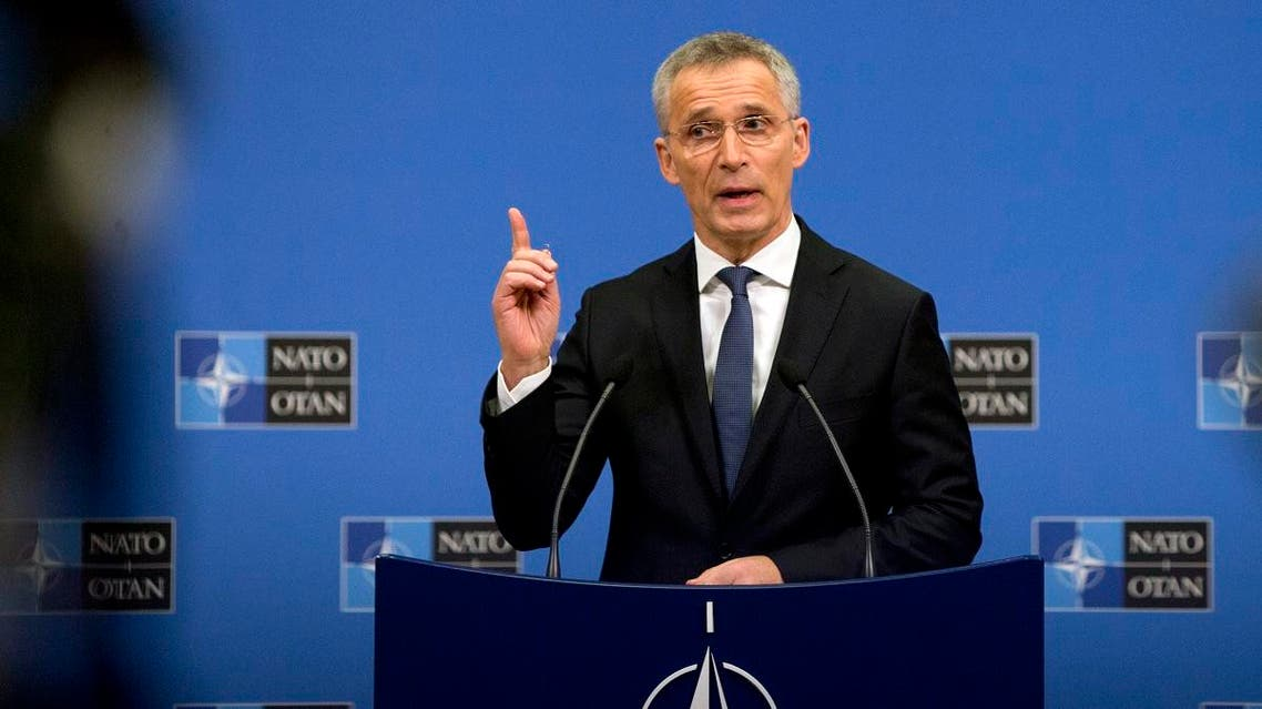 NATO Secretary General Jens Stoltenberg speaks during a media conference at NATO headquarters in Brussels, Monday, April 1, 2019. (AP)