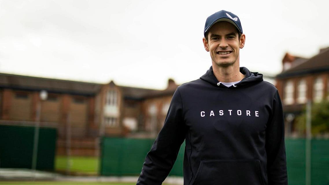 Andy Murray poses during the Castore partnership announcement at the Queen's Club. (Reuters)