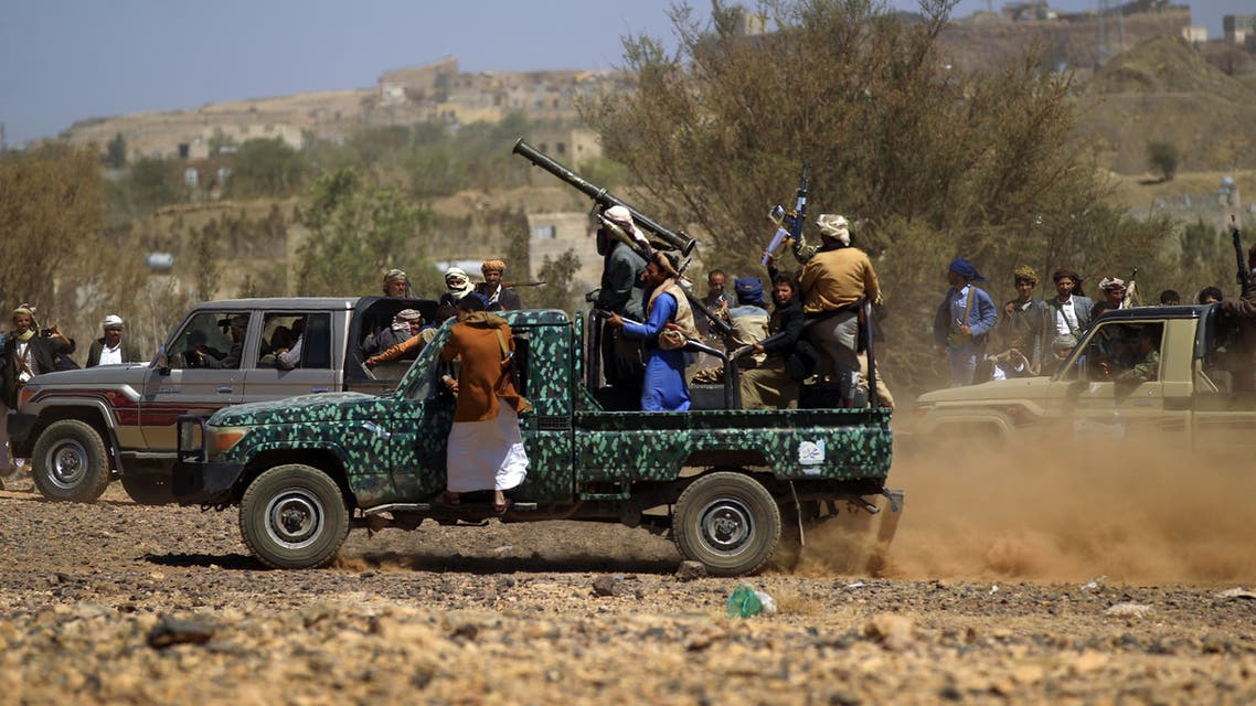 Armed Yemeni gather near the capital Sanaa to show their support to the Shiite Huthi movement against the Saudi-led intervention on February 21, 2019.