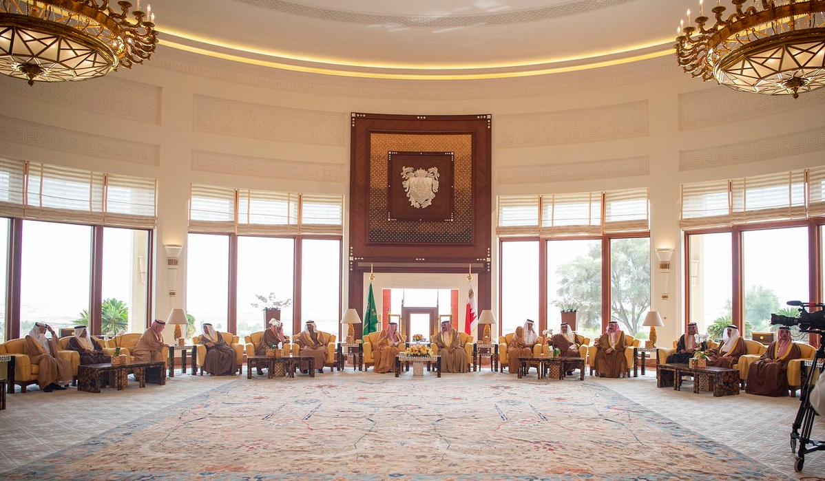 Saudi King Salman in Bahrain, April, 2019. (Twitter/@bandaralgaloud)