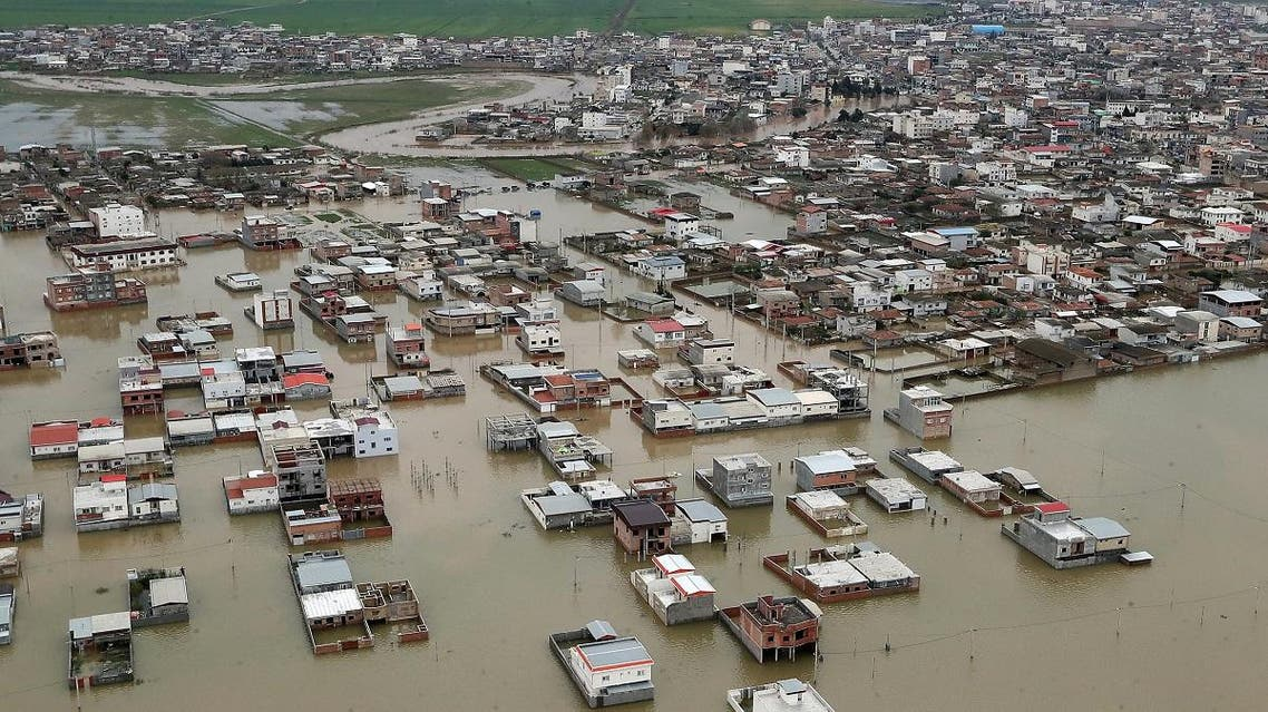 Areas affected by floods in Iran's Golestan region. (AFP)