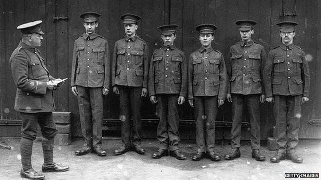 صورة لعدد من المتطوعين بالجيش البريطاني في حدود سنة 1915