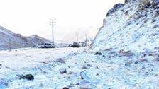 سعودی عرب : تبوک کے لوگ برف باری سے لطف اندوز ہونے میں مصروف