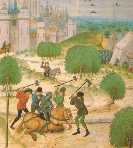 رسم تخيلي لعدد من الفلاحين الفرنسيين خلال مهاجمتهم لأحد الفرسان