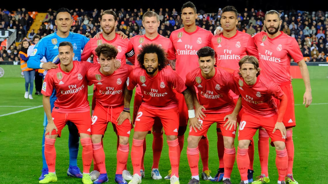 Real Madrid players line up before their match against Valencia on April 3, 2019. (Reuters)