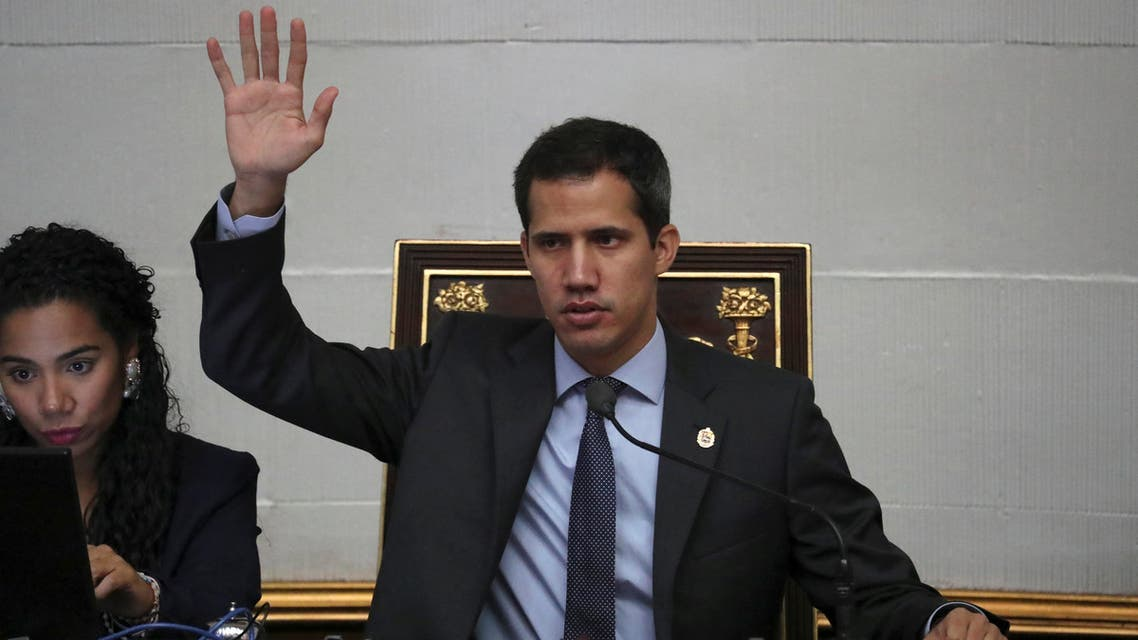 Venezuelan opposition leader Juan Guaido, who many nations have recognised as the country's rightful interim ruler, takes part in a session of the National Assembly in Caracas, Venezuela April 2, 2019. REUTERS/Ivan Alvarado
