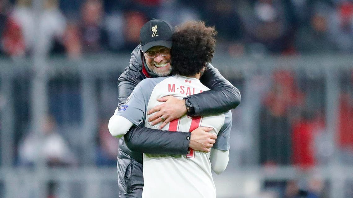 Klopp hugs Mohamed Salah after the Champions League match against Bayern Munich on March 13, 2019. (AP)