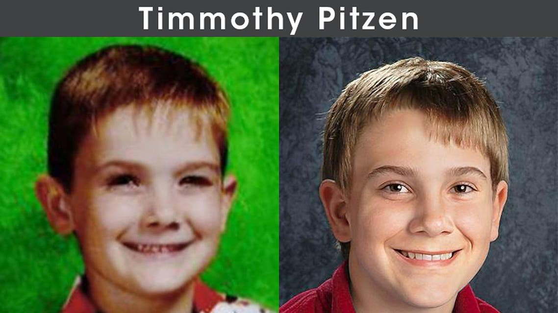 """This image released on April 4, 2019 shows Timmothy Pitzen (L) and an """"Age Progression"""" image of Pitzen at 13. (AFP)"""